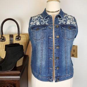 Ruff Hewn Medium Wash Denim Vest Embroidered, L